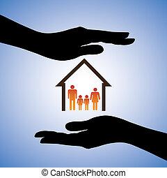 conceito, ilustração, de, segurança, de, casa, e, family., a, gráfico, contém, símbolos, de, home/residence, e, parents/children, coberto, por, mão feminina, silhouettes., este, lata, represente, conceitos, semelhante, seguro