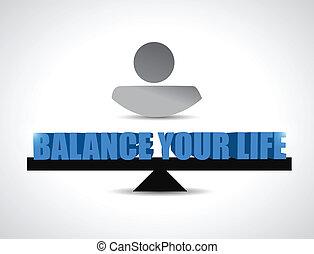 conceito, ilustração, viver, desenho, equilíbrio, seu