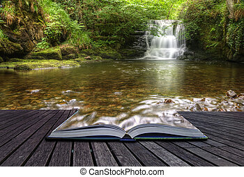 conceito, imagem, fluir, mágico, cachoeira, criativo, livro, floresta, vinda, páginas, saída