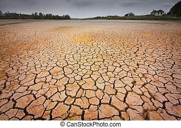 conceito, imagem, global, -, terra, rachado, warming