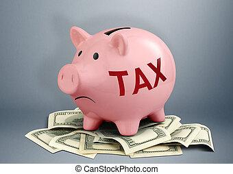 conceito, imposto, criativo, dólares, piggy, renda, banco