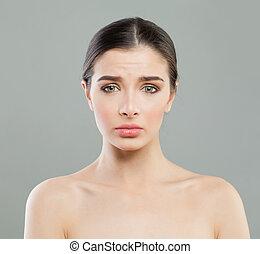 conceito, infeliz, rosto, wrinkles., mulher, anti-envelhecimento, levantamento