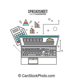 conceito, infographic, spreadsheet, negócio, desenho