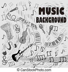 conceito, instruments., cartaz, abstratos, elementos, musical