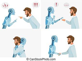 conceito, interação, illustration., negócio, inteligência, concept., modernos, communication., robô, robot., vetorial, human, artific, tecnologia