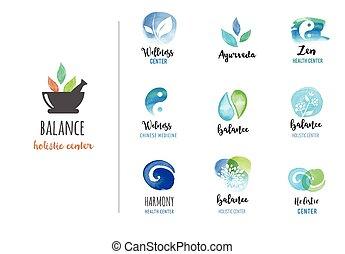 conceito, ioga, wellness, ícones, -, aquarela, vetorial, medicina, alternativa