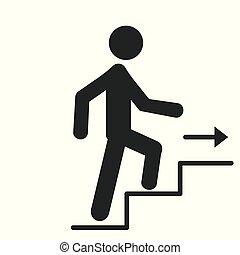 conceito, isolado, caminho, homem, vetorial, ilustração, ícone, escadas, vai, cima, fundo, desenho, sucesso, crescimento, negócio, branca, seta
