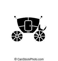 conceito, isolado, ilustração, sinal, experiência., carruagem, vetorial, pretas, casório, ícone, símbolo