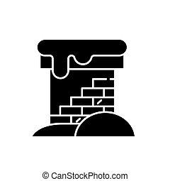 conceito, isolado, ilustração, sinal, experiência., vetorial, pretas, ícone, tijolo, símbolo, chaminé