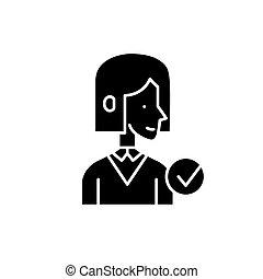conceito, isolado, ilustração, sinal, experiência., vetorial, pretas, mentor, ícone, símbolo