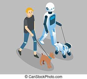 conceito, isometric, vetorial, robôs, ilustração