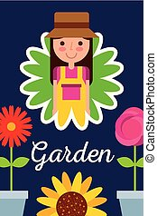 conceito, jardim, pote, menina flor, flores, jardineiro