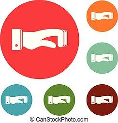 conceito, jogo, ícones, mão, vetorial, círculo