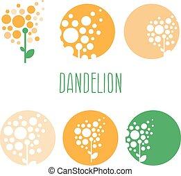 conceito, jogo, abstratos, ilustração, vetorial, dandelions., logotipo