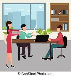 conceito, jogo, escritório negócio, trabalhadores, ilustração, vetorial, desenho, meeting.
