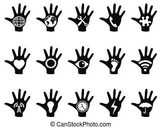 conceito, jogo, mão, ícones