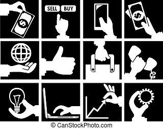 conceito, jogo, negócio, comercial, vetorial, pretas, branca, ícone