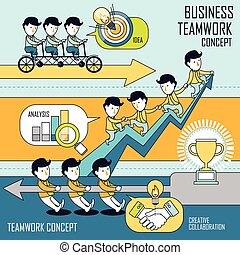 conceito, jogo, trabalho equipe, negócio