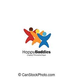conceito, junto, vetorial, ícone, amigos, feliz