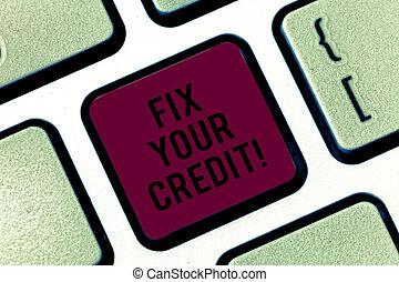 conceito, keypad, texto, credit., equilíbrios, apertando,...