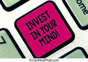 conceito, keypad, texto, você mesmo, apertando, teclado, mensagem, educação, seu, conhecimento, criar, intention, mind., novo, mais, adquira, significado, tecla, melhorar, investir, idea., computador, letra