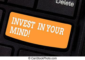conceito, keypad, texto, você mesmo, teclado computador, mensagem, educação, seu, conhecimento, criar, escrita, intention, mind., novo, mais, negócio, adquira, tecla, melhorar, palavra, investir, idea., apertando