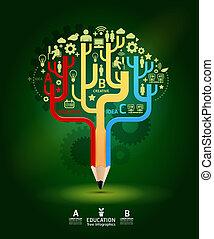 conceito, lápis, árvore, modernos, crescimento, desenho, esquema, /, criativo, modelo, infographics, cutout, site web, ser, usado, ilustração, horizontais, numerado, gráfico, linhas, idéia, vetorial, lata, bandeiras, ou