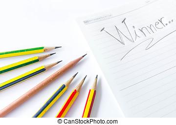 conceito, lápis, isolado, branco