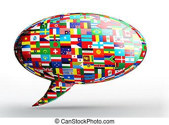conceito, língua, nação, bandeiras, bolha, conversa