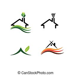 conceito, lares, jogo, logotipos, simples, -, casa, eco, vetorial