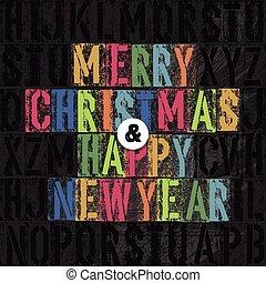 conceito, letras, letterpress, coloridos, feliz natal