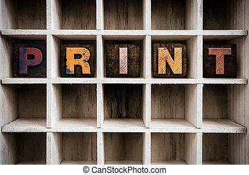 conceito, letterpress, madeira, gaveta, impressão, tipo