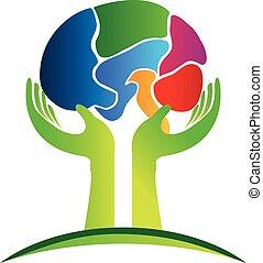 conceito, logotipo, cérebro humano