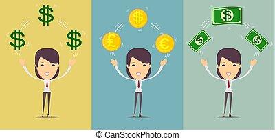 conceito, loteria, dinheiro, dólares, -, jovem, nós, poupança, mulher, empréstimo, segurando, feliz