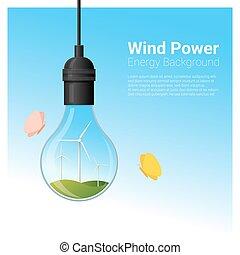 conceito, luz, energia, 1, fundo, bulbo, turbina, vento