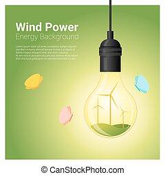 conceito, luz, energia, 2, fundo, bulbo, turbina, vento
