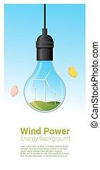 conceito, luz, energia, 3, fundo, bulbo, turbina, vento
