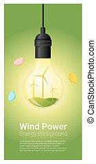 conceito, luz, energia, 4, fundo, bulbo, turbina, vento
