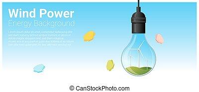 conceito, luz, energia, 5, fundo, bulbo, turbina, vento
