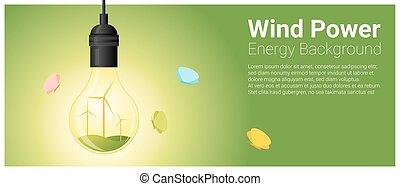 conceito, luz, energia, fundo, 6, bulbo, turbina, vento