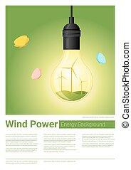 conceito, luz, energia, fundo, 8, bulbo, turbina, vento