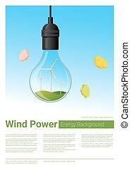 conceito, luz, energia, fundo, bulbo, turbina, vento