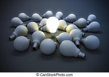 conceito, luz, imagem, criatividade, bulbo,  3D
