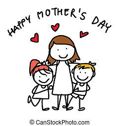 conceito, mãe, caricatura, mão, desenho, dia, feliz