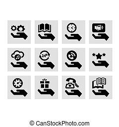 conceito, mão, ícones