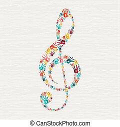 conceito, mão, nota, forma, música, human, impressão