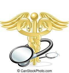 conceito médico, estetoscópio, caduceus