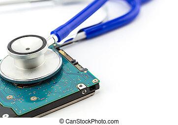 conceito médico, estetoscópio, com, computador, hdd