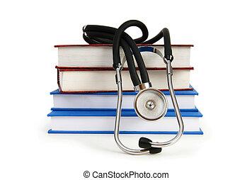 conceito médico, estetoscópio, livro, educação
