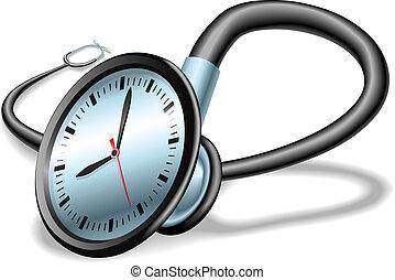 conceito médico, estetoscópio, tempo
